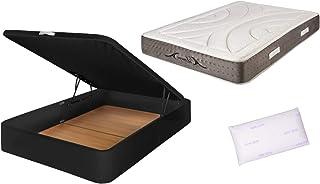 Pack DE CANAPÉ Polipiel Negro + COLCHÓN VISCOELÁSTICO DE 150X200 con 1 Almohada Lavanda DE 150CM