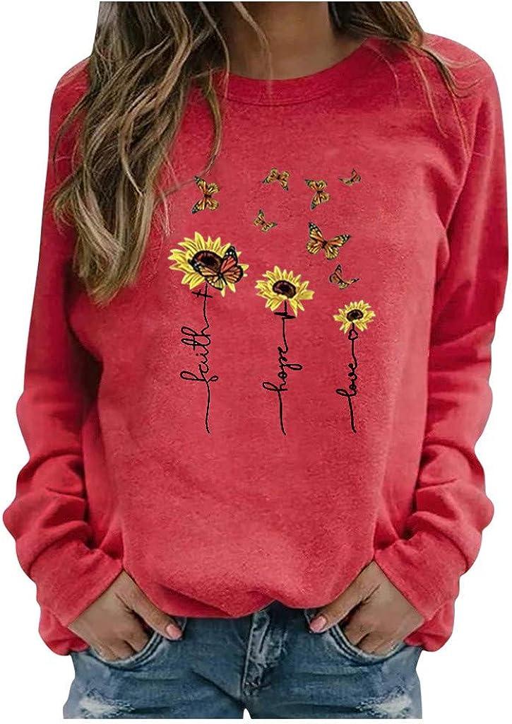 Sweatshirts for Women Long,Womens Crewneck Sweatshirts Tops Vintage Flower Print Long Sleeve Pullover Shirts