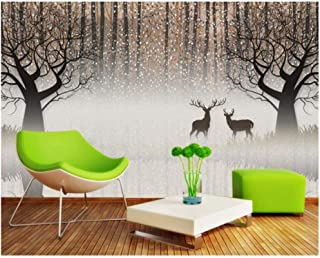 Jiling 3D Retro Nostalgia Forest Elk 3D Tv Background Wall Decoration Wallpaper for Walls @320X240Cm