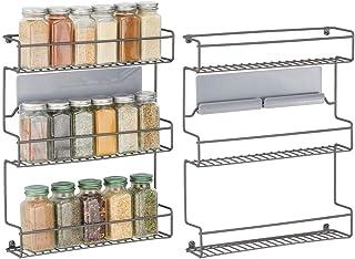 mDesign étagère de cuisine à 3 niveaux en lot de 2 – rangement de cuisine en métal – idéal comme range épices et pour orga...