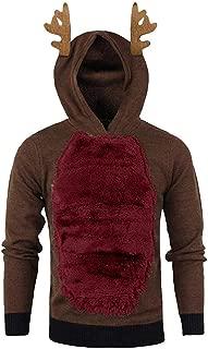 Landscap Hoodie Men 3D Reindeer Hoodies Christmas Winter Warm Plus Velvet Hooded Premium Pullover Ugly Christmas Sweatshirt