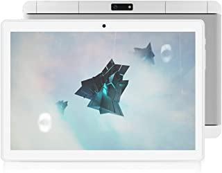 Tablet 10 Inch, Dual Sim Card Slots, 3G Phone Call/WiFi, Quad Core CPU, Bluetooth, GPS, 2GB RAM 32GB Storage, Android 9.0, 1280x800 IPS Screen, 2+5 MP Camera ZONKO Computer PC -White