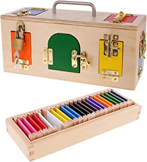 Perfeclan Kids Wooden Educational Toys Lock Box & Color Box Toy Set for Baby Toddler