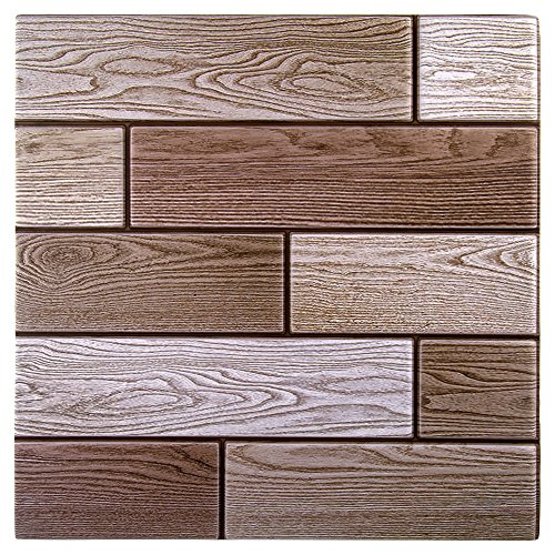 CTG Self-Adhesive 3D Mixed Peel and Stick Wooden Wall Tiles for Kitchen Backsplash or Bathroom, 11.8 x 11.8 inches, Beige