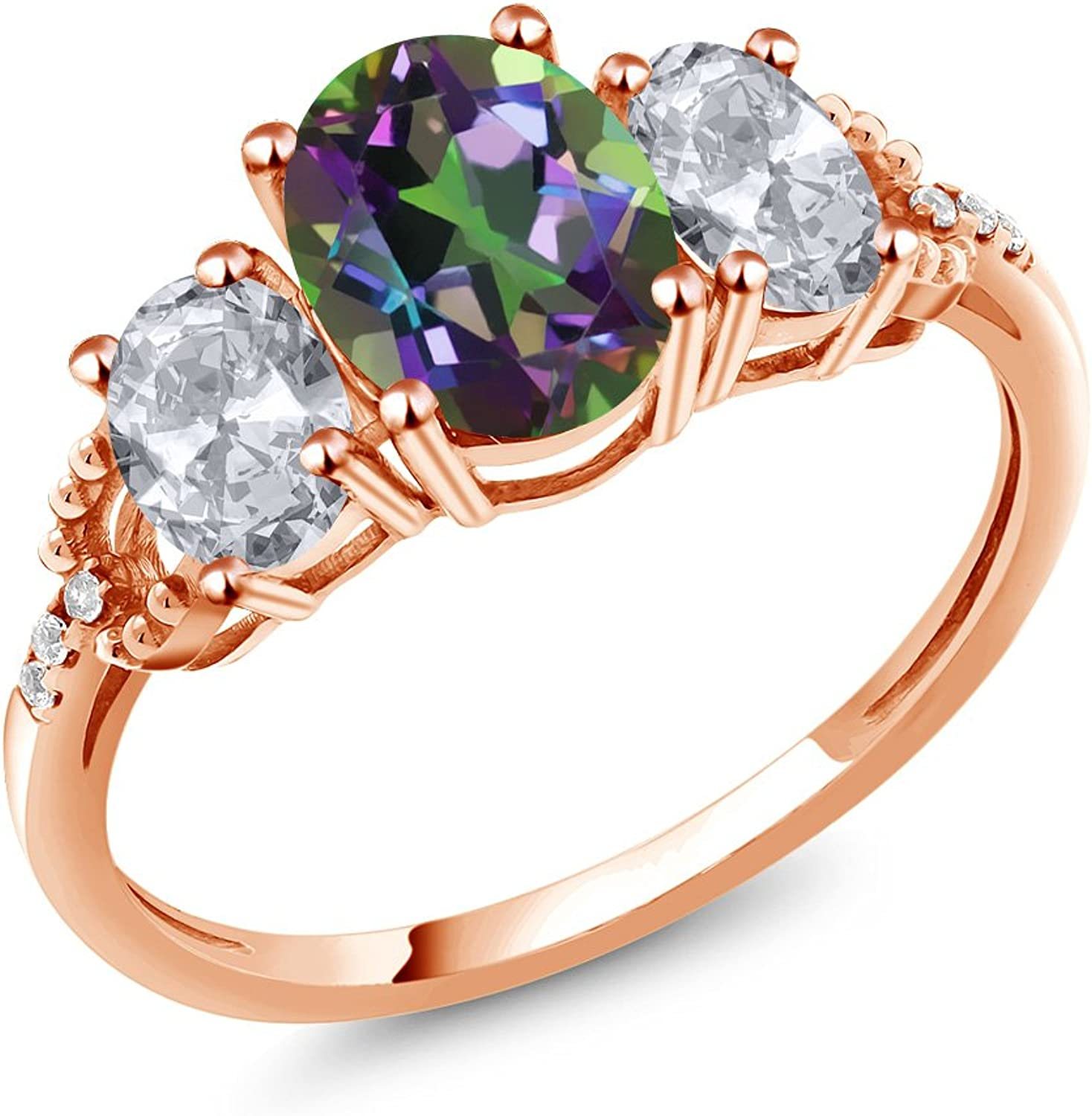 2.34 Ct Oval Green Mystic Topaz White Topaz 10K pink gold Diamond Accent Ring