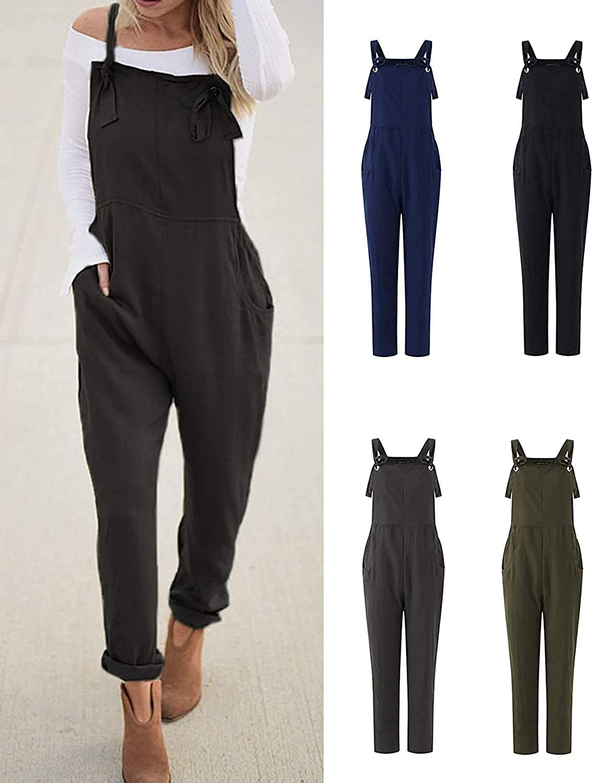 VONDA Latzhose Damen Jumpsuit Retro Lange Overall Gr/ö/ße Baggy Sommerhose
