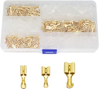 RLECS 150pcs 2.8mm 4.8mm 6.3mm Female Spade Connector Brass Crimp Terminal Connector with Insulating Sleeves Assorted Kit ...