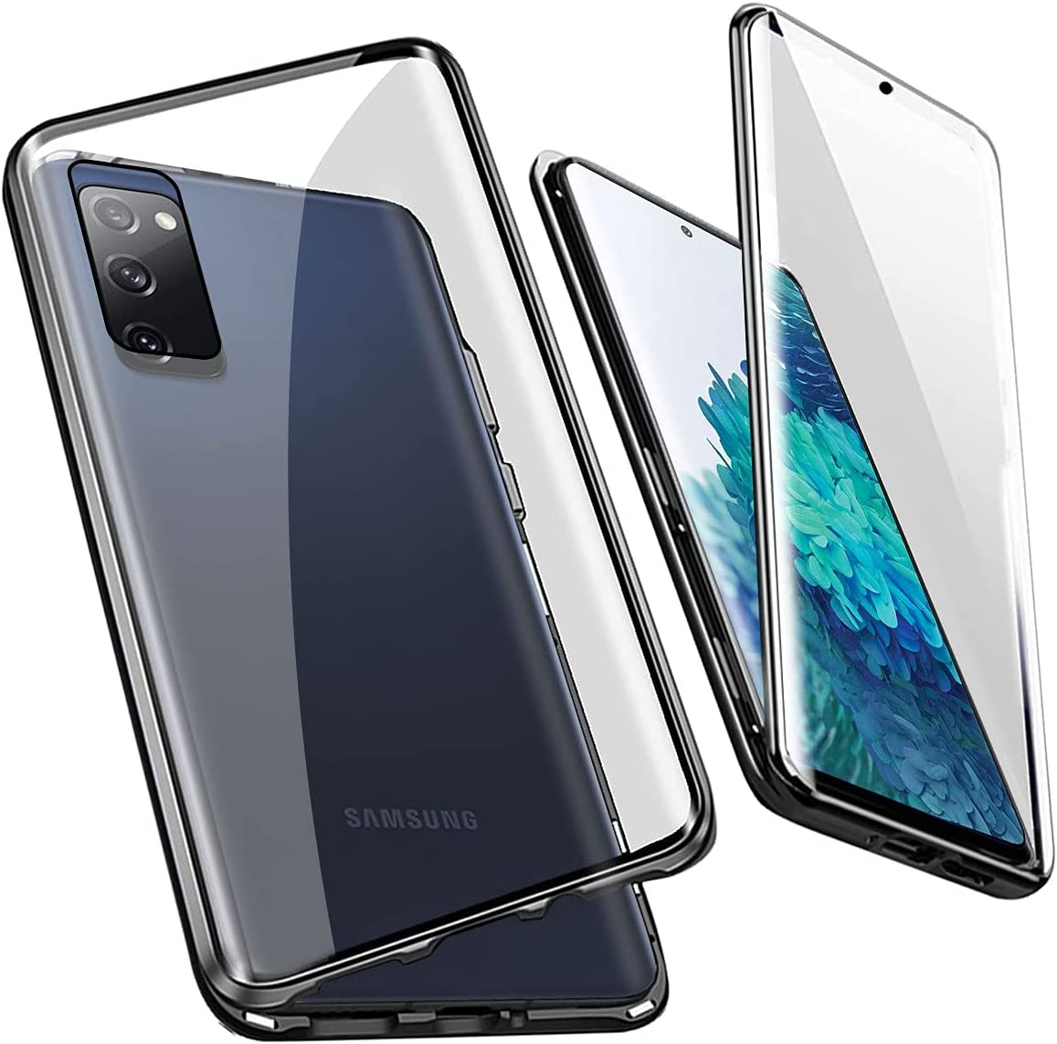 QUIETIP Compatible for Samsung Galaxy S20 FE Case,Magnetic Metal Clear Glass Case,Thin Body Metal Frame Double-Sided Tempered Glass with Built-in Screen Lens Protect,Black
