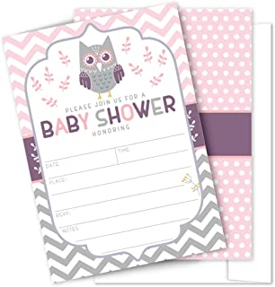 Pink Owl Baby Shower Invitations - 25 High Quality Owl Theme Invitations with Envelopes for Girl Baby Shower by Partygraphix