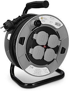 comprar comparacion Navaris Carrete alargador de cable con 4 enchufes - Enrollacables 25M - Prolongador con grado de protección IP44 y tipo de...