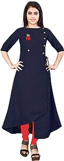 Om Sai Latest Creation Women's Half-Sleeve Anarkali Slub Rayon Kurti-Beige