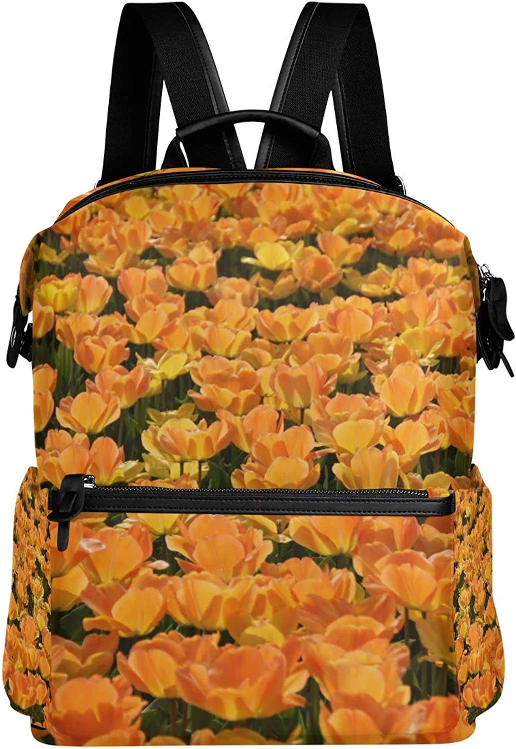MONTOJ Amazing Beautiful Tulips Leather Travel Bag Campus Backpack