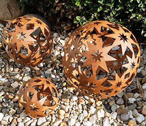3er Set Dekokugeln Gartenkugeln Stern Sterne Metall 10+14+19cm Braun Rost-Optik Kugel Gartenkugel