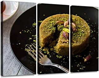 turkish dessert irmik helvasi with pistachio powder and tea halvas Wall Artwork Exclusive Photography Vintage Abstract Paintings Print on Canvas Home Decor Wall Art 3 Panels Framed Ready to Hang