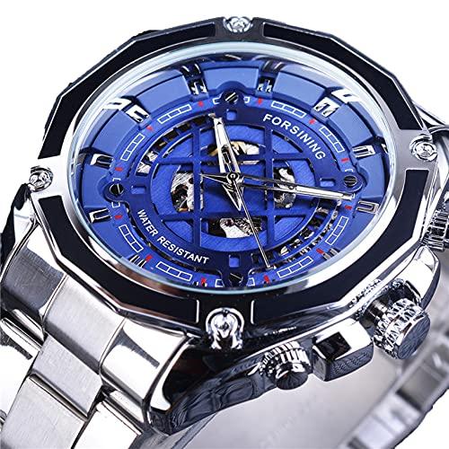 Excellent Relojes mecánicos automáticos de los Hombres Reloj de Reloj de Pulsera analógico con Correa de Acero Inoxidable Deportes Esqueleto,A01