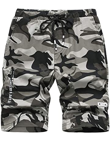 Idgreatim Pantaloncini per Ragazzi Camouflage Military Army Print Sports Camo Cargo Pantaloni Casual Pantaloncini Regolabili con Tasche Laterali
