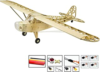 Upgrade RC Balsa Wood Airplane Piper Cub J3 Model Aircraft, 47'' Wingspan Laser Cut RC Plane Kits to Build for Adults, DIY Electric 4CH Radio Controlled Airplane Unassembled RC Kit for Men Hobby Fly