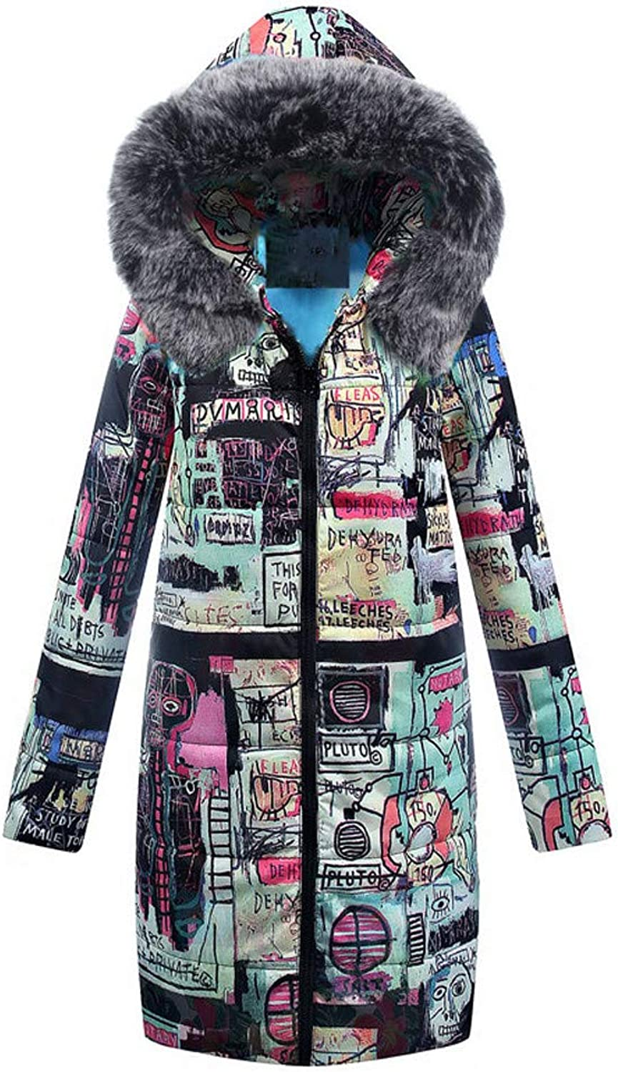 Cotton Hooded CoatHan Shi Womens Zip Up Print Long Parka Quilted Jacket Outwear