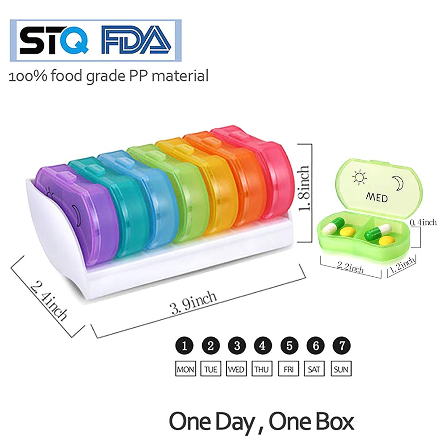 Portable Daily Dill Manager (Twice a Day) The Weekly Morning/Afternoon Pill Box Can be Placed in a Pocket Wallet for Work and Travel and Can Hold Vitamin Fish Oil Supplements and Medications