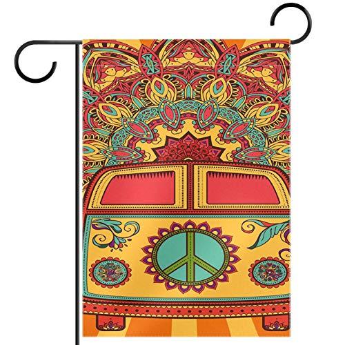 YATELI Bandera de Patio de jardín 28x40 Pulgadas Hippie Vintage Mini Van Peace Sign Banner de Doble Cara para decoración de Fiesta al Aire Libre en casa