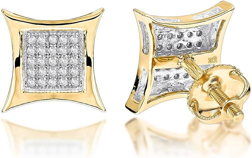 Kite Round Diamond Stud Earrings 0.18ctw in 10k Gold by Luxurman