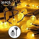 opamoo Guirnalda Solar Decorativas, Cadena de Bola Cristal Luz para Exterior, 1.8 W, Blanco Cálido, 6.5M 30 LED