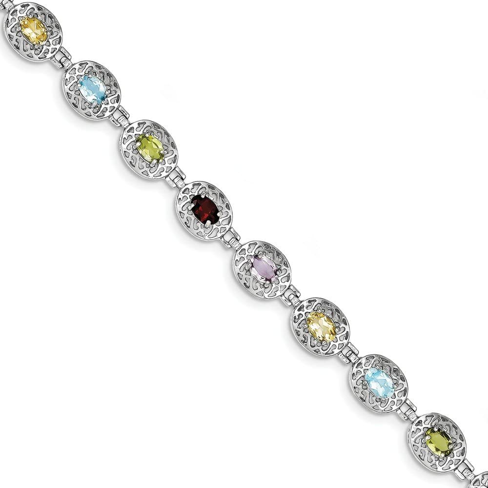 Sterling Mail Clearance SALE! Limited time! order Silver Rhodium Plated 6.5inch Bracelet Multi-gemstone