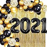2021 Decoraciones de graduación Oro negro 2021 Globos para la clase de 2021 Suministros de fiesta de graduación Decoración de fiesta de graduación de la escuela secundaria
