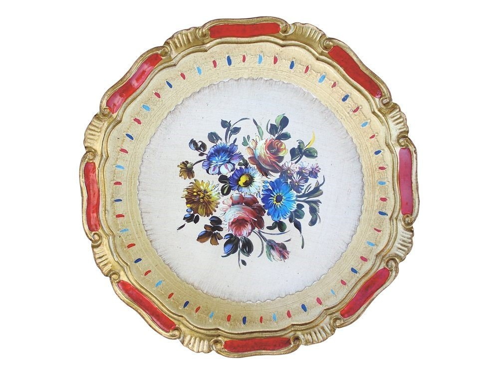 Masi Round wooden tray with design Max 56% OFF floral Max 53% OFF