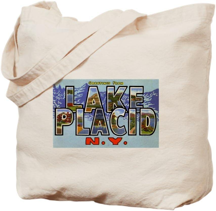 CafePress Lake Placid New York Tote Bag Natural Canvas Tote Bag, Reusable Shopping Bag