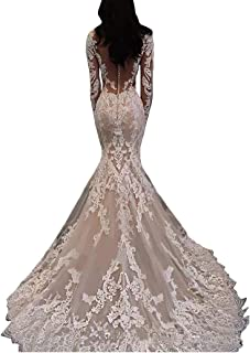 6151ae9beda3 Dexinyuan Sexy Long Sleeves Lace Mermaid Bridal Gown 2019 Illusion Backless  Princess Plus Size Wedding Dress