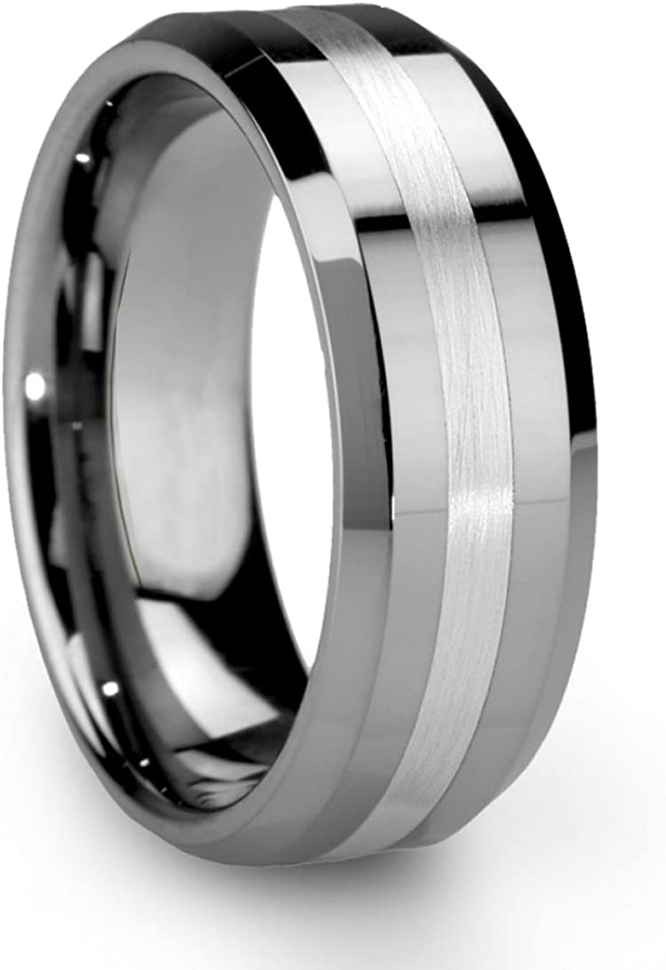 King Will 8mm Tungsten Carbide Ring for Men Silver/Gold Wedding Band Matte Brushed Polish Finish