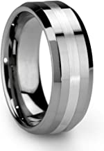 King Will Classic Silver Men's 8mm Tungsten Ring One Tone Matte Finish Brushed..