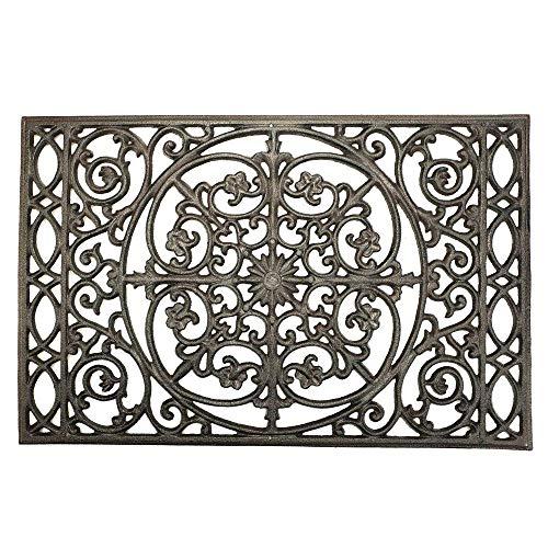 Sungmor - Felpudo rectangular de hierro fundido de 22 x 14,4 pulgadas, resistente, antideslizante, para puerta, raspador de zapatos, alfombra de bienvenida, estilo rústico vintage decorativo