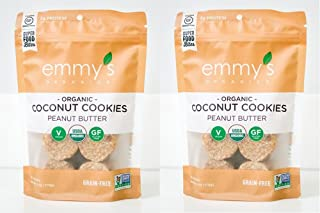 Emmy's Organics, Coconut Cookies - Peanut Butter, 6 oz (Pack of 2)
