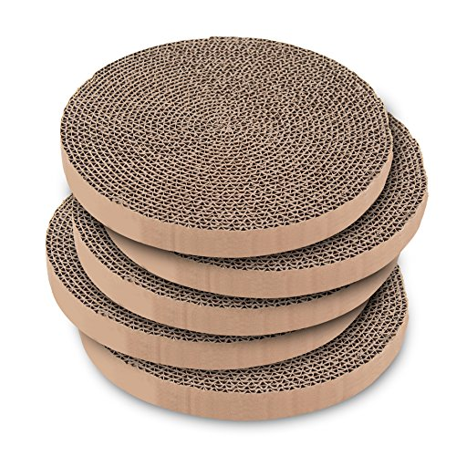 Best Pet Supplies, Inc. Scratch and Spin Replacement Pads (5 Pack) fits Most Standard Round Scratchers – Round Cardboard Scratcher Refills for Cats