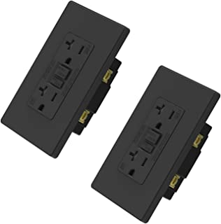 ELEGRP 20 Amp GFCI Outlet, 5-20R Ultra Slim GFI Dual Receptacle, TR Tamper Resistant with LED Indicator, Self-Test Ground Fault Circuit Interrupters, Wall Plate Included, UL Listed (2 Pack, Black)