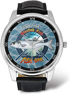 Cool Fishing Mens Watches Design Bluefish Fish Fish On Good Catch Pattern, Leather Strap Large