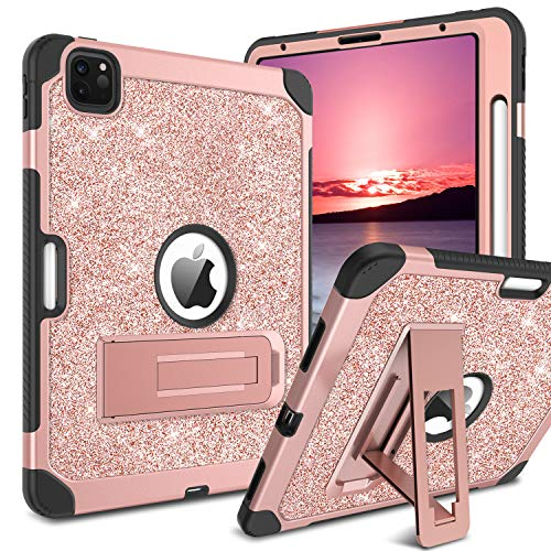 GUAGUA iPad Pro 11 Case 2020/2018 with Pencil Holder Kickstand Glitter Bling 3 in 1 Hybrid High Impact Full Body Rugged Shockproof Protective Tablet Case for iPad Pro 11 inch 2020/2018 Rose Gold