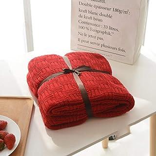 [QIFENGDIANZI]毛布 もうふ 掛け毛布 編み物 綿 北欧風 ふわふわ 軽量 軽い 夏用 エアコン お昼寝 冬暖かい 洗濯可 静電防止 車用 旅用 抗菌・防臭・防ダニ プレゼント 男女兼用 レッド 110X180cm