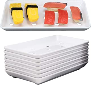 Ebros Gift Japanese Raw Food Preparation And Storage White Neta Zara Melamine Sushi Sashimi Chef Serving Plate With Drip Holes For Sushi Case 8.75