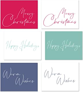 Merry Christmas Happy Holidays Blank Greeting Cards, Bulk Box Set Pack of 36 Assorted Cardstock & Envelopes for Kids, Business, Family, Friends (Fancy Letters)