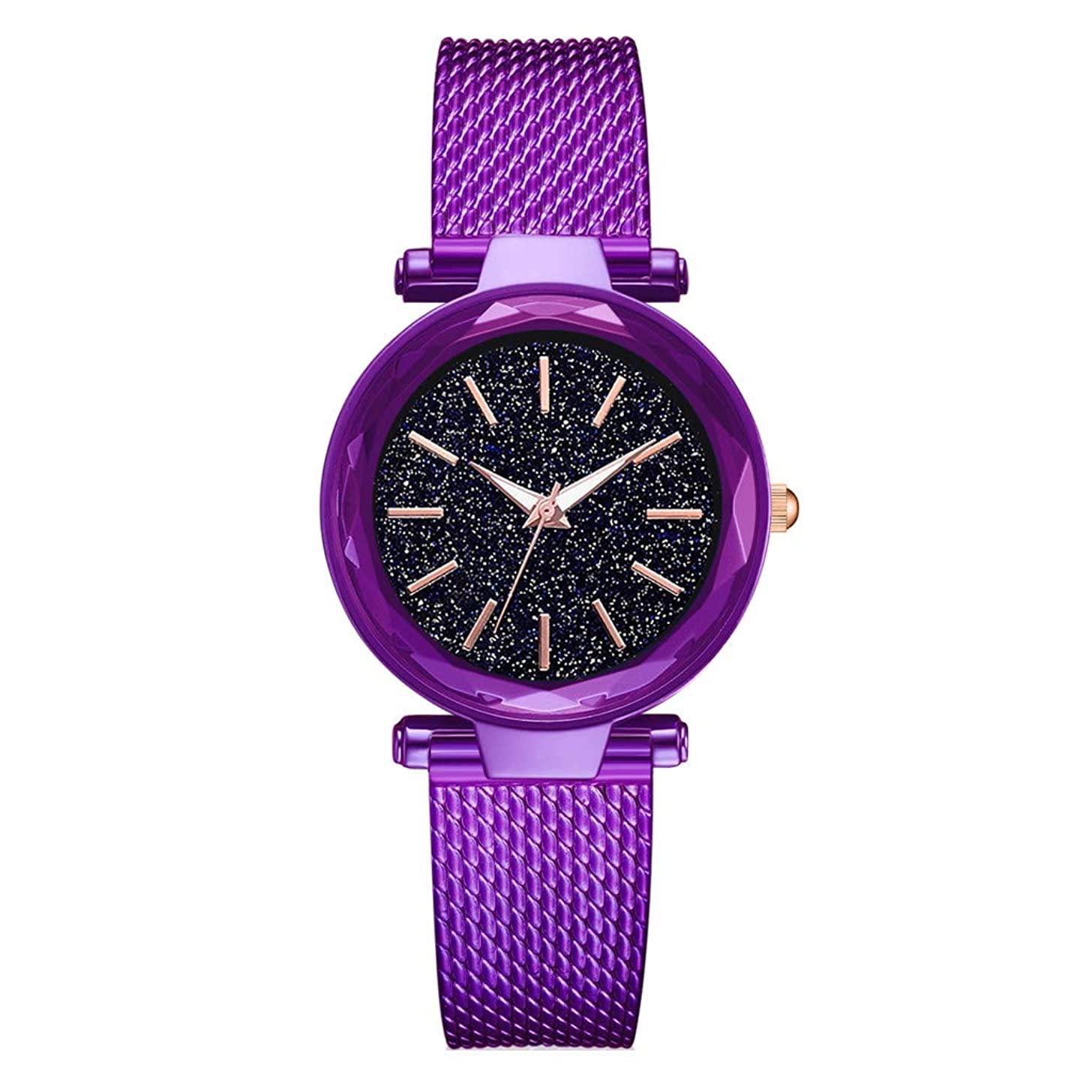 LUCAMORE Women Starry Sky Analogue Quartz Watches with Stainless Steel Band Diamond Dial Lady Wrist Watches