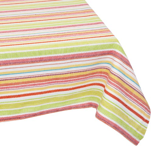 Mahogany -InchFete-Inch Multi-color Stripe Tablecloth, 60 by 90-Inch Rectangle, 100-Percent Cotton