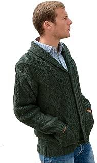 100% Irish Merino Wool Aran Button Men's Sweater by Westend Knitwear