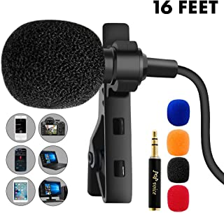 PoP voice 16 Feet Single Head Lavalier Lapel Microphone Omnidirectional Condenser Mic for Apple iPhone Android & Windows Smartphones, Youtube, Interview, Studio, Video Recording, Noise Cancelling Mic