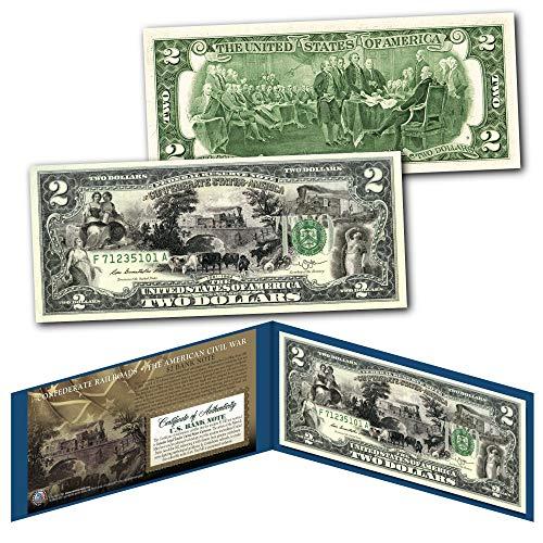 Confederate Railroads Banknote of The American Civil War on Genuine New $2 Bill