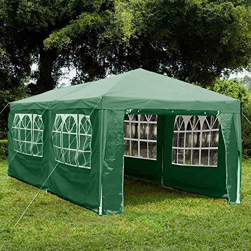 Garden Vida Gazebo with Side Panels 3x6m Marquee Zip Up Party Tent Outdoor Garden Canopy Waterproof with Wind Bars, Green