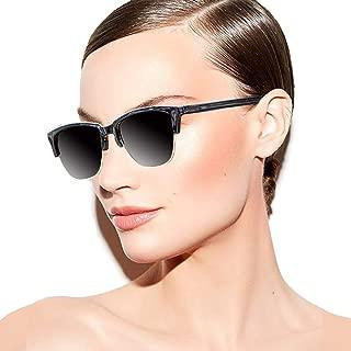 AOKNES Retro Polarized Sunglasses Men Women Classic Casual Semi Rimless Round Fashion Sun Glasses