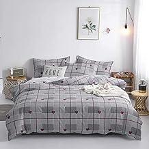 Liv Esthete Cartoon Alpaca Bedding Set, Gray Duvet Cover Bedspread Flat Sheet, Pillowcase Single Double Queen King Bed Lin...